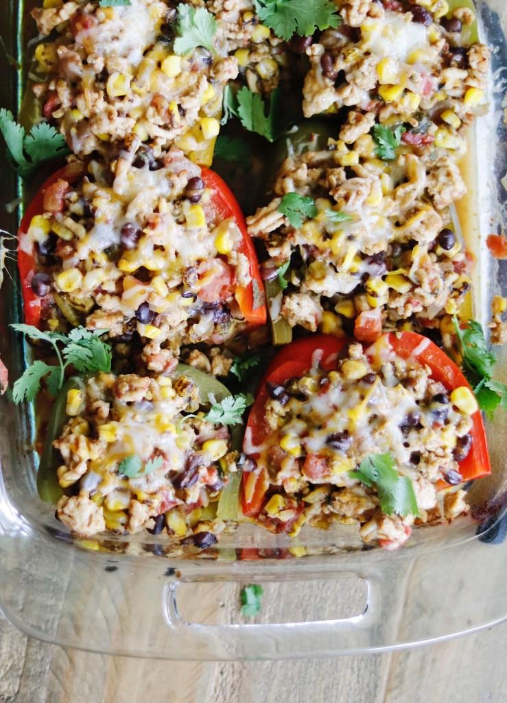 Recipe   Tex Mex Turkey Stuffed Peppers