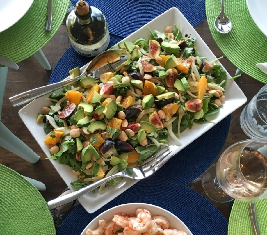 salad with fresh figs, avocado, marcona almonds
