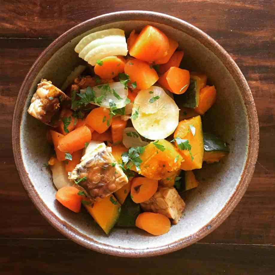 Nishime style vegetables with crispy tempeh