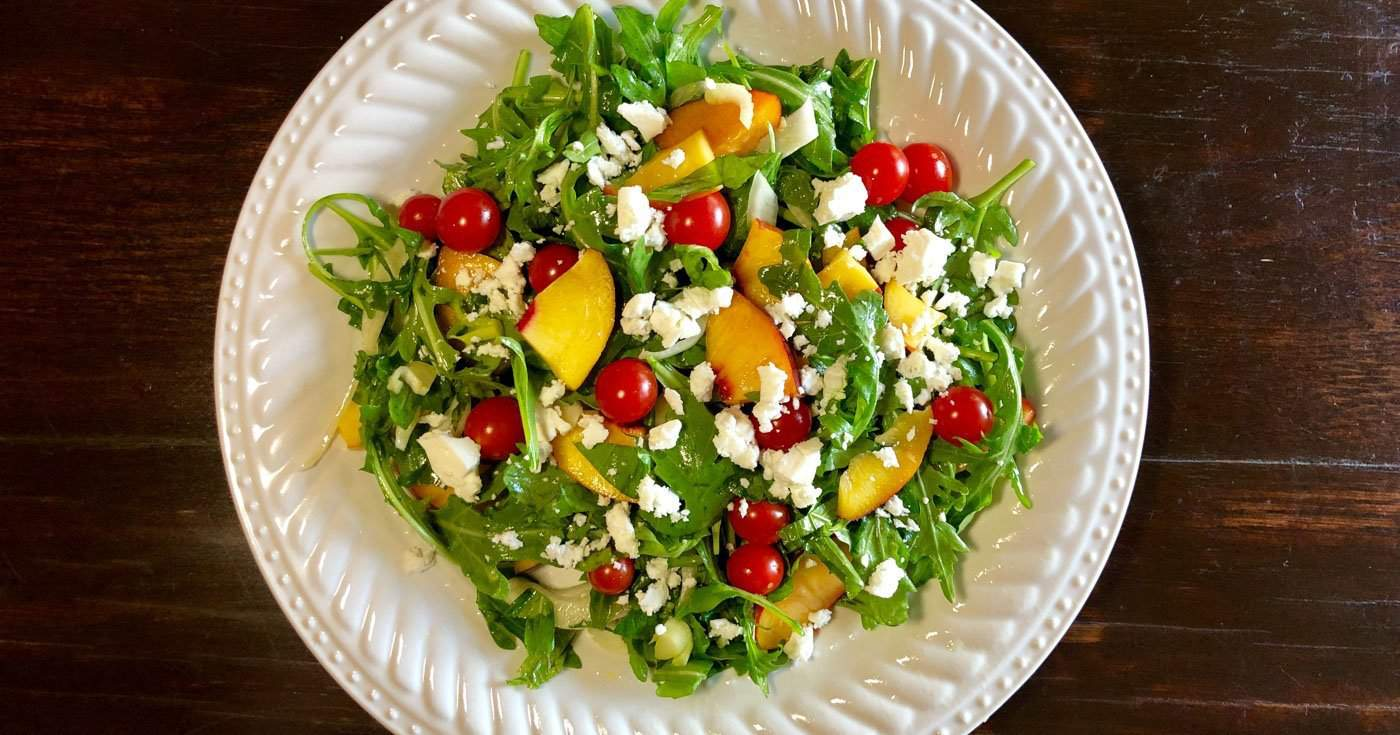 Summer Nectarine and Arugula Salad with Lemon-White Balsamic Vinaigrette