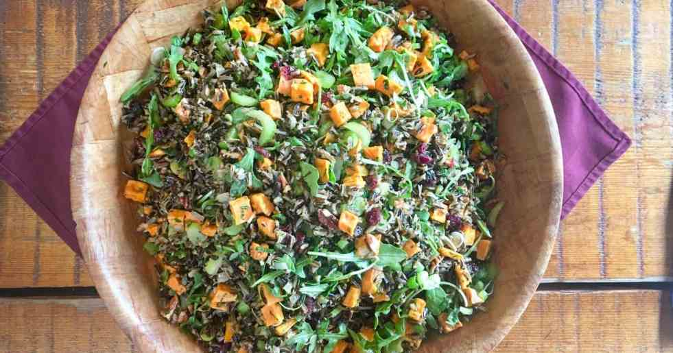 Wild Rice Pilaf in wooden bowl
