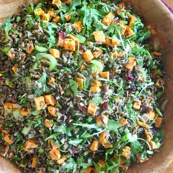 Wild Rice Pilaf with Roasted Sweet Potatoes and Orange Balsamic Drizzle