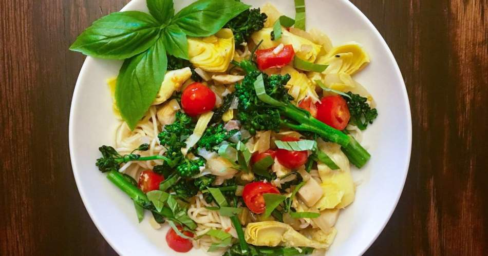 Mediterranean Pasta garnished with fresh basil