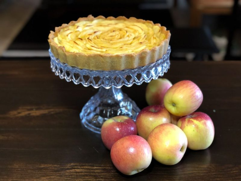 Gluten Free French Apple Tar cake stand