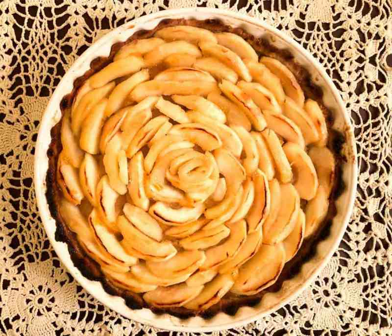 Gluten Free French Apple Tart on lace tablecloth