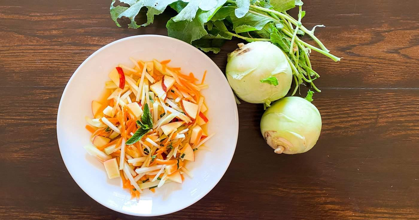 Kohlrabi Slaw With Apple Orange And Mint Cook Love Heal With Rachel Zierzow