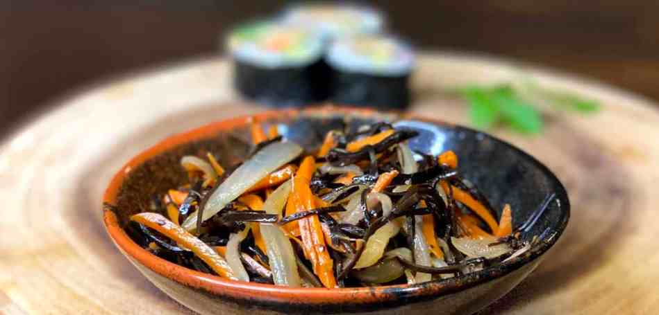 Arame Kinpira with Carrot and Onion in a Ceramic Dish