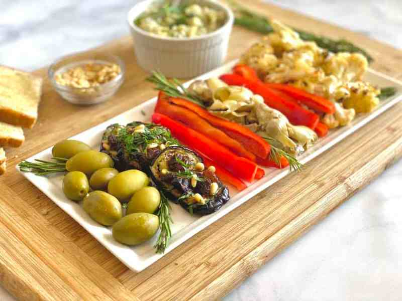 Italian Summer Antipasto Board with Eggplant, Cauliflower, Red Bell Pepper