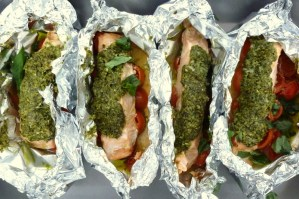 Low FODMAP Salmon and Pesto Parcels