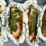 Roast salmon with pesto, IBS recipe