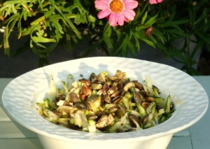 courgette and pumpkin seed low FODMAP salad