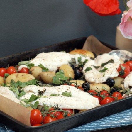 Low FODMAP, Mediterranean fish bake