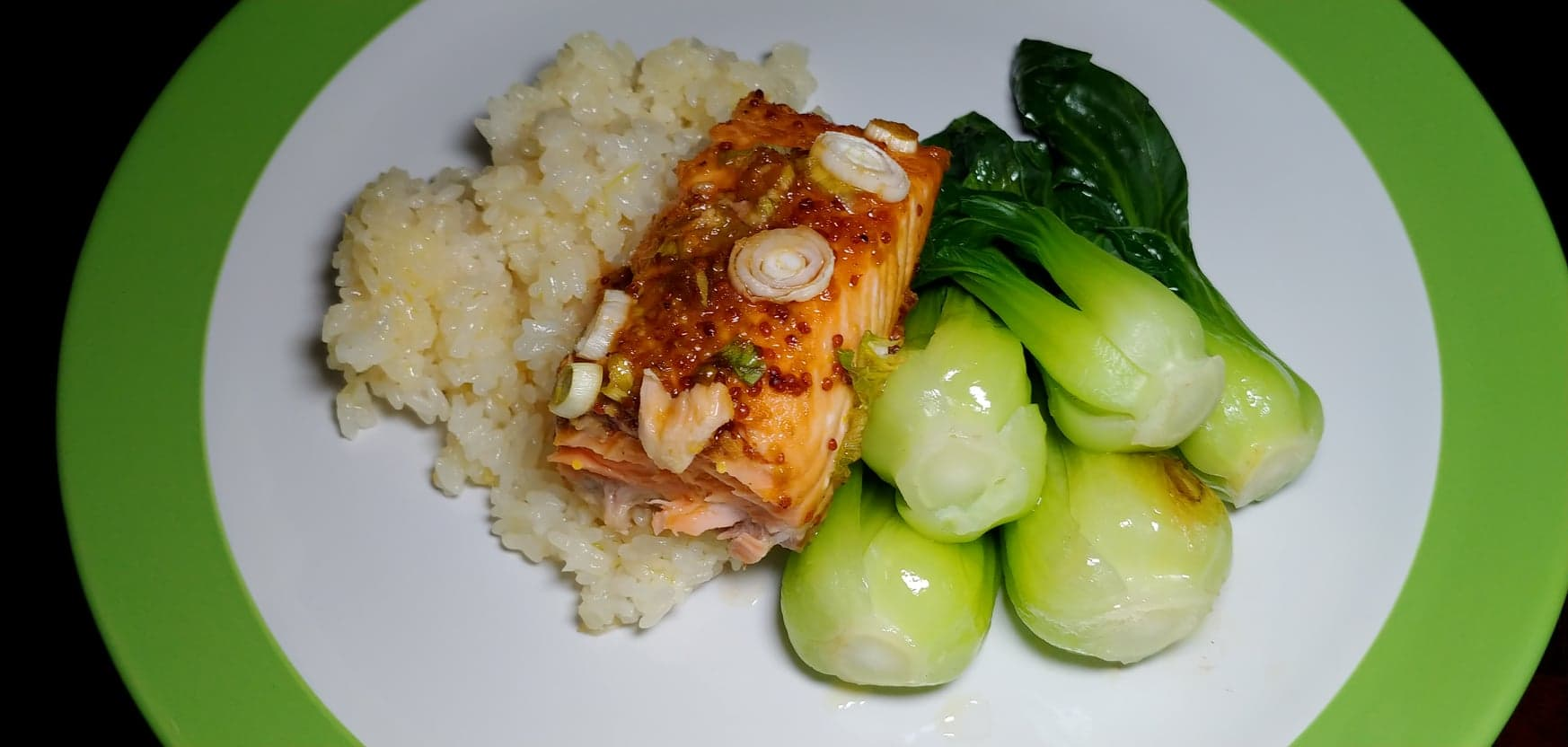 Glazed Salmon with Bok Choy and Gingered Sweet Rice