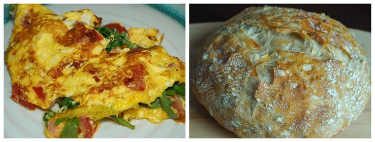 Breakfast Omelette salad and No-knead bread