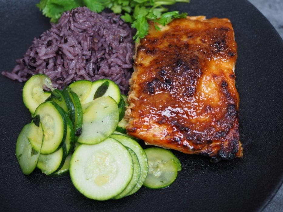 Miso and honey-ginger glazed salmon