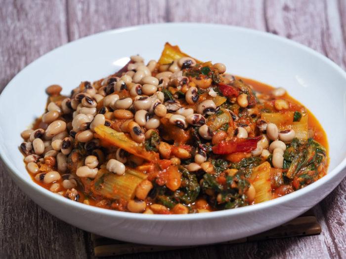 Black-eyed peas and rainbow chard with marinara sauce