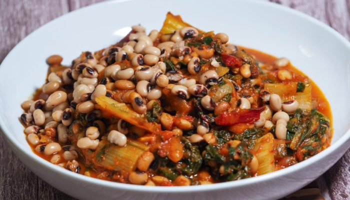 Black-eyed peas and rainbow chard with marinara sauce