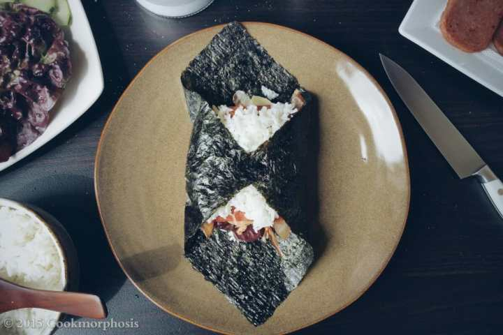 Japanese rice ball is wraped nicely in a seaweed