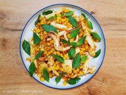 Cajun style sauteed squid with corn