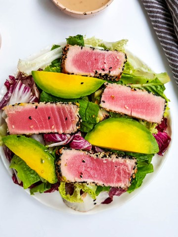 tuna avocado salad with asian style creamy ginger dressing