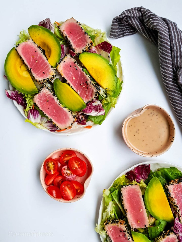 tuna avocado salad with creamy asian style ginger dressing