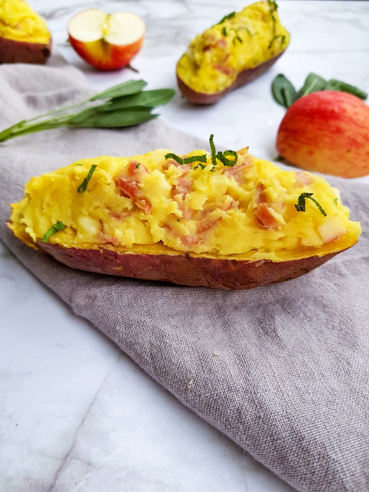 creamy baked sweet potatoes with spam and apple