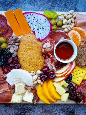 charcuterie board ideas: cheese and meat board