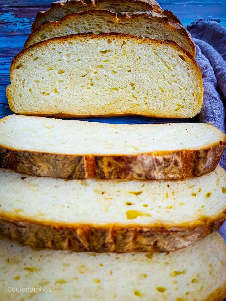 homemade cheddar cheese bread slices