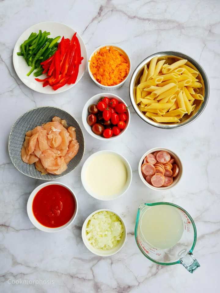 list of ingredients used to make Cajun spicy chicken penne pasta