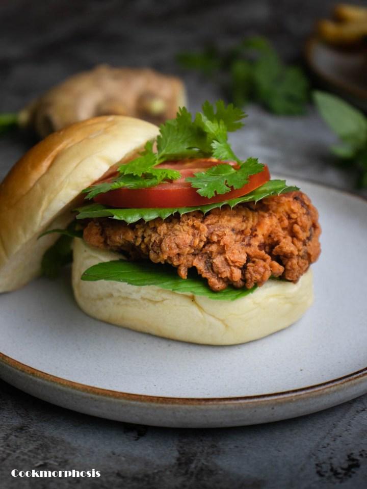open face crispy chicken pho burger