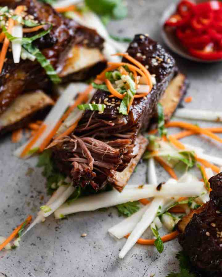 close up of shredded asian beef short rib