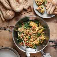 Afghan Scrambled Eggs with Afghan Naan (Khagina with Noni Afghani)