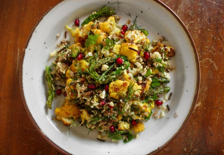 Spring's busy but easy salad with cauliflower and asparagus