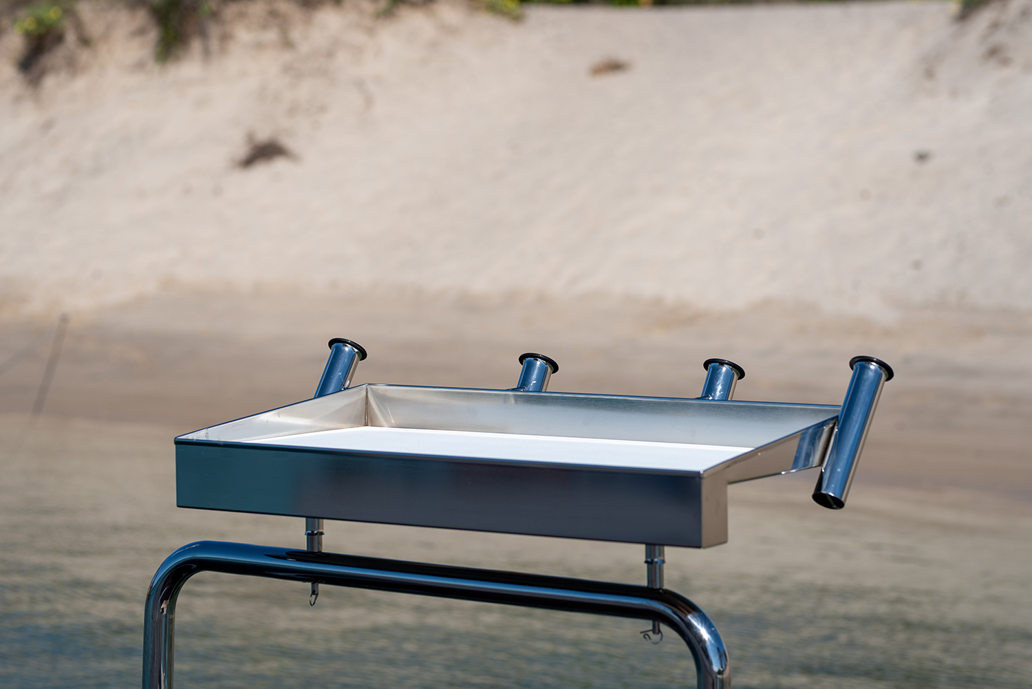 Barracuda stainless bait board with rod holders