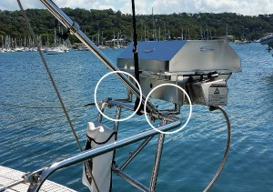 Stainless Clamp On Rail Mounts gas boat BBQ Yacht Example