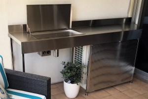 Australian made stainless steel Deluxe Electric Flush Mount BBQ on balcony