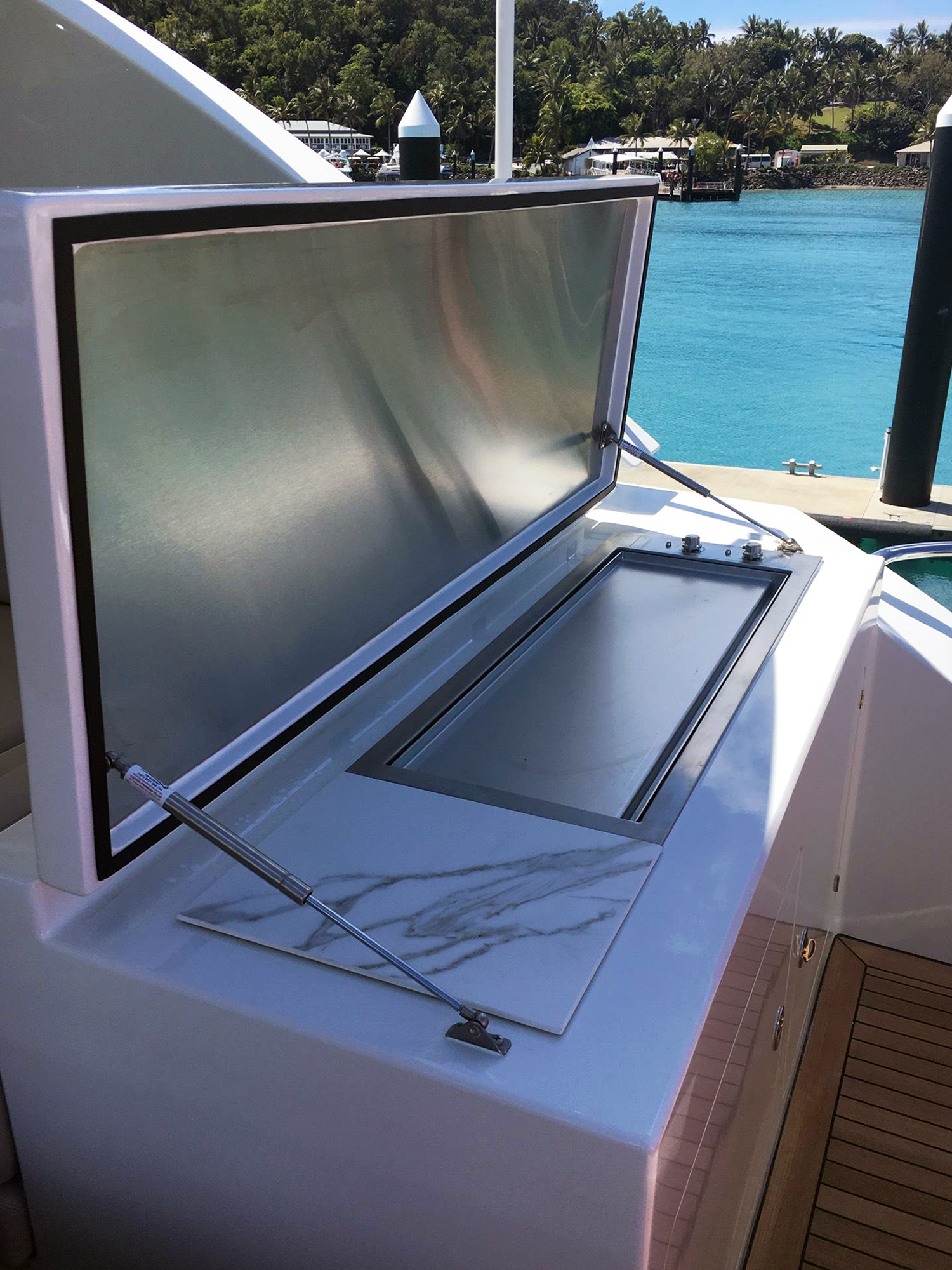 Custom 110V electric stainless bbq on a boat