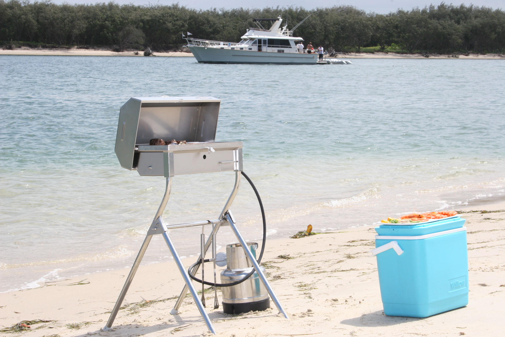 Portable Gas stainless steel BBQ on beach Australia