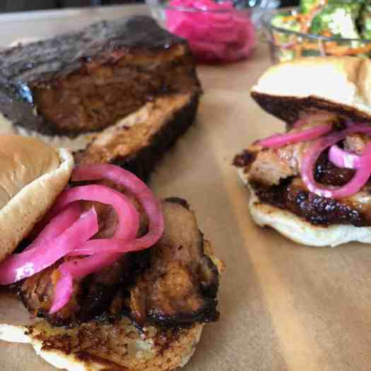 Smoky Slow Cooker Brisket Sandwiches with Pickled Red Onion
