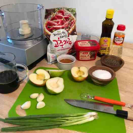 galbi jjim sauce ingredients on counter
