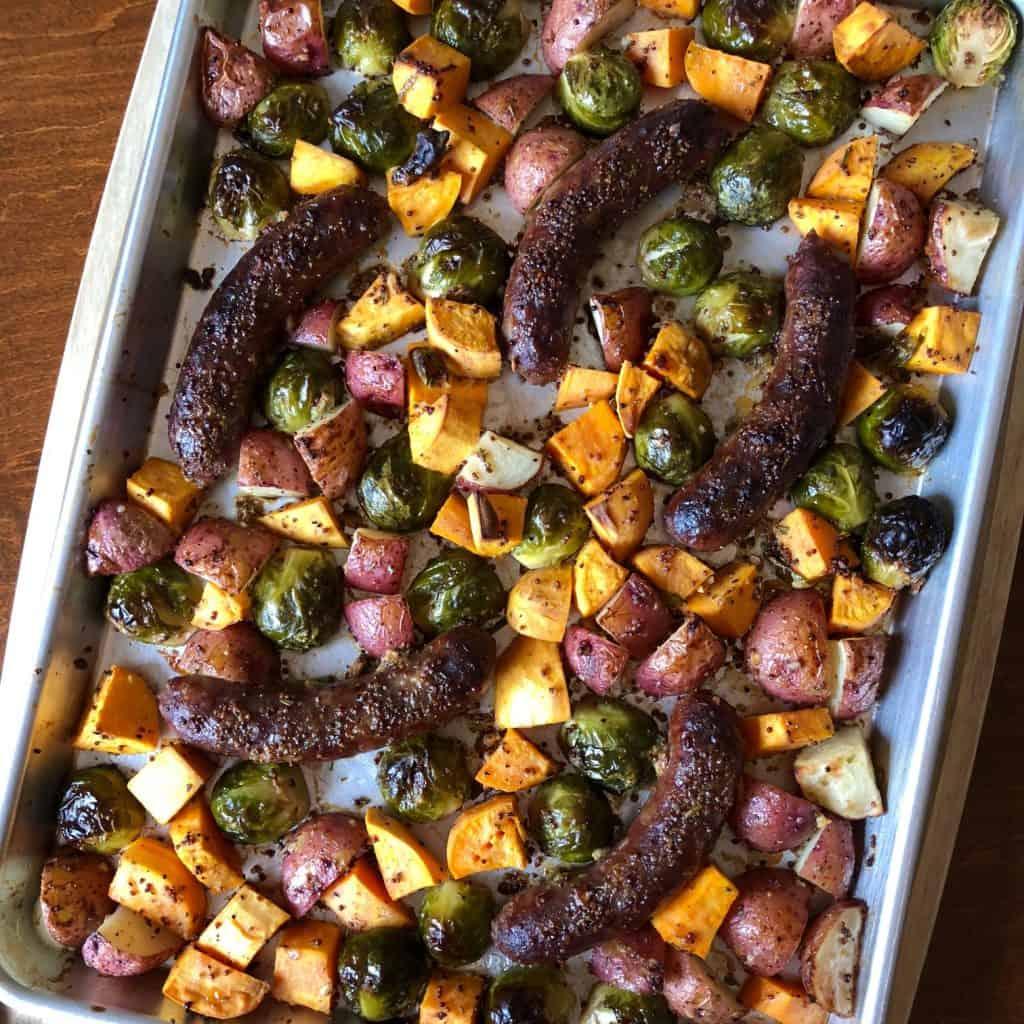 Maple Mustard Glazed Bratwurst Sheet Pan Supper
