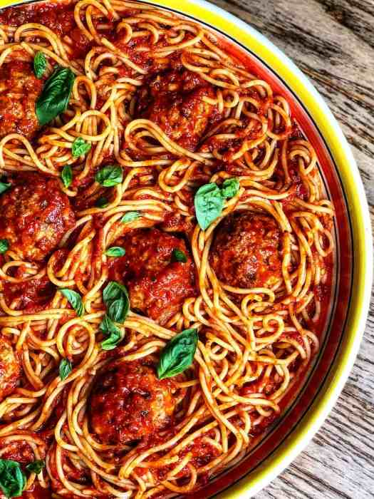 Platter of Spaghetti and The Best Meatballs Ever in Marinara Sauce