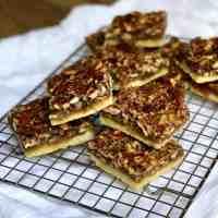 Slices Pecan Bars with Shortbread Crust