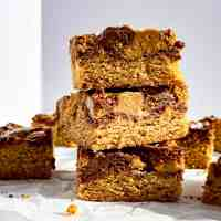 A stack of Peanut Butter and Nutella Swirled Blondies