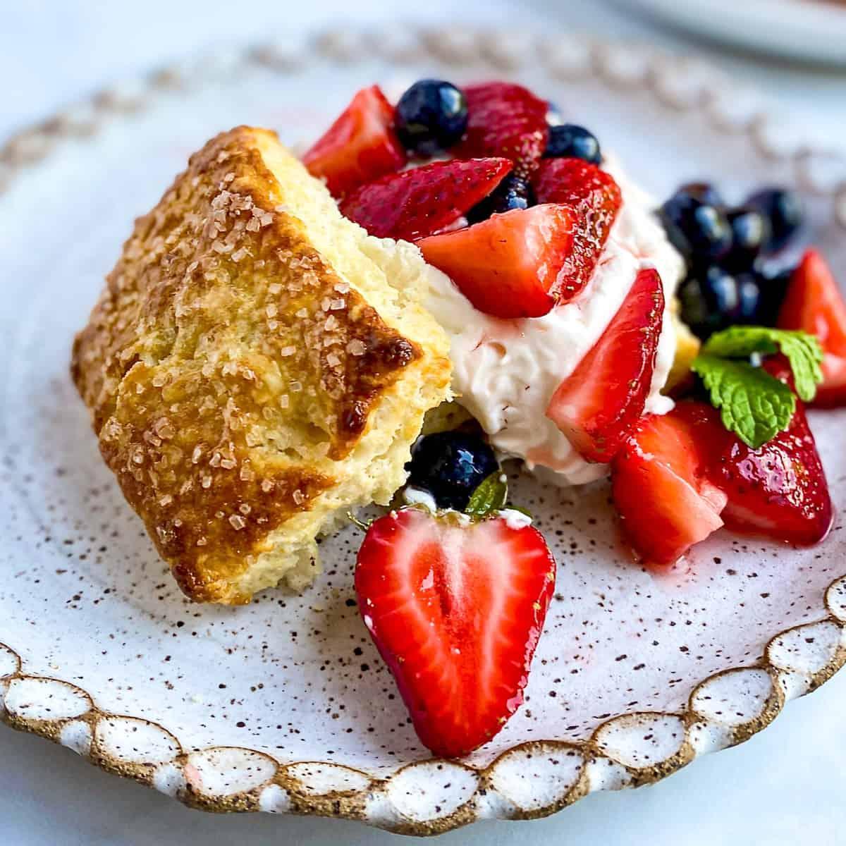 Breakfast Strawberry Shortcake with Whipped Greek Yogurt Cream