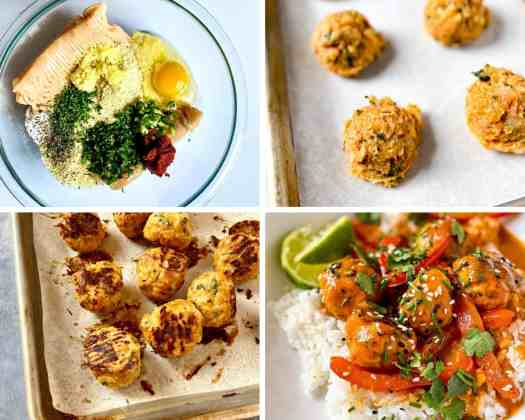 A collage of photos depicting the stages of making Thai Chicken meatballs; an ingredient picture, formed raw meatballs, cooked meatballs, and finished meatballs with red curry served over rice.