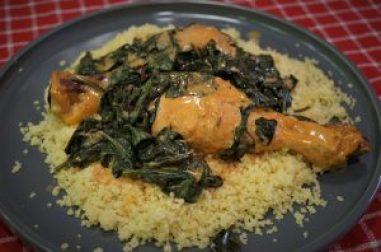 pollo espinacas