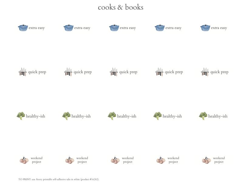 Cookbook index tabs