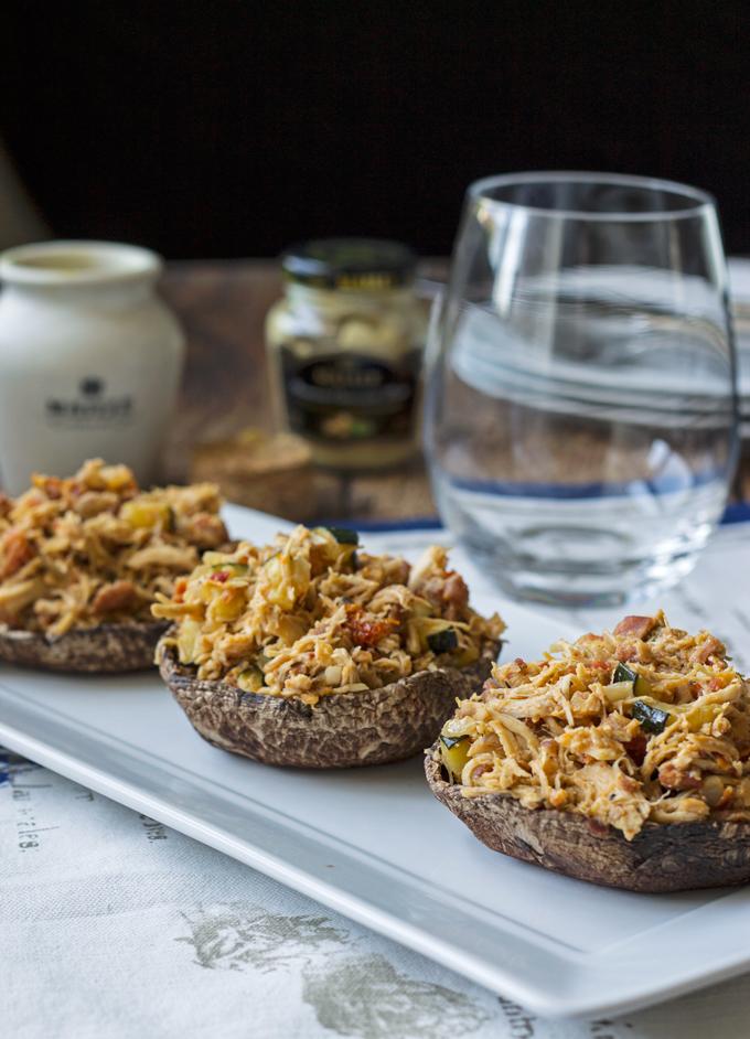 Stuffed Portobello Mushrooms with a Wine & Maille Mustard Sauce