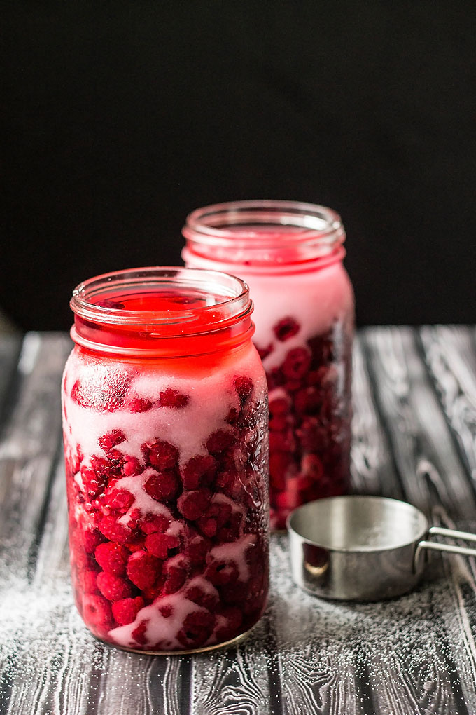 Homemade Raspberry Liqueur Elixir